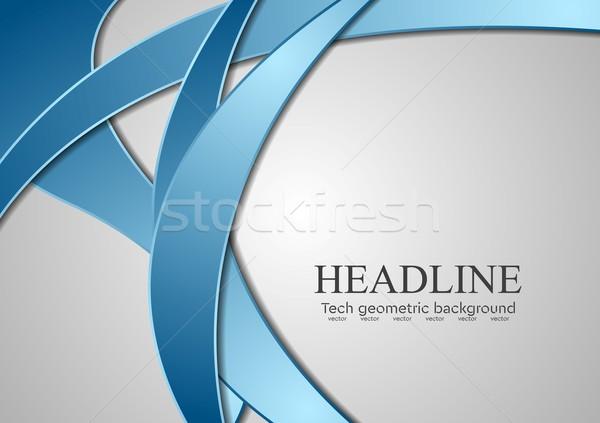 Streszczenie niebieski korporacyjnych fale szary wektora Zdjęcia stock © saicle