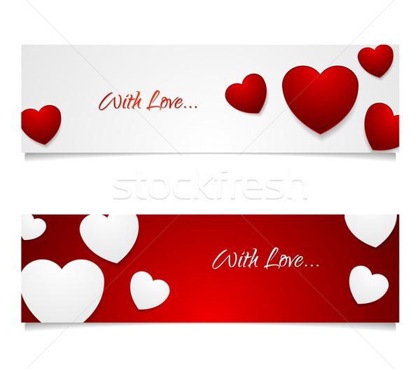 Valentijn dag grafisch ontwerp harten illustratie witte Stockfoto © saicle