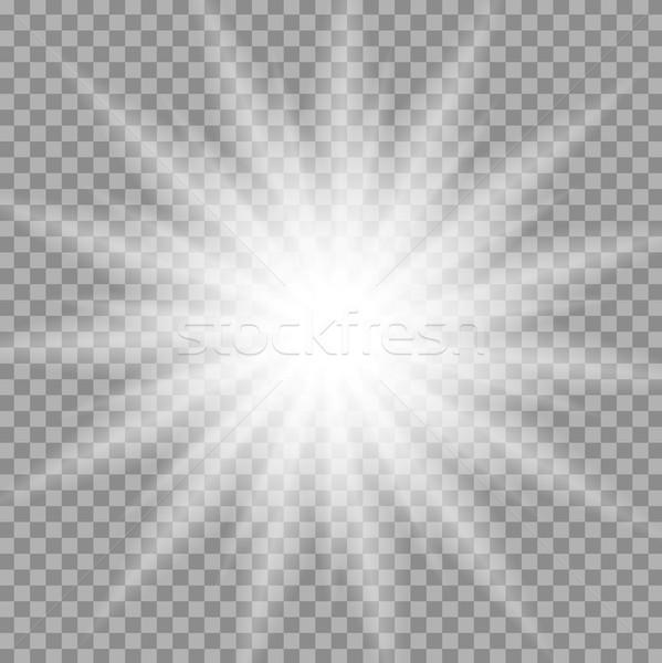 White glowing iridescent light effect star design Stock photo © saicle