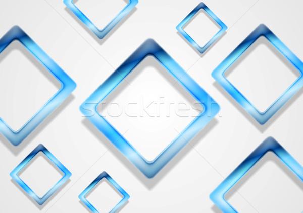Kék fényes négyzetek fehér vektor művészet Stock fotó © saicle