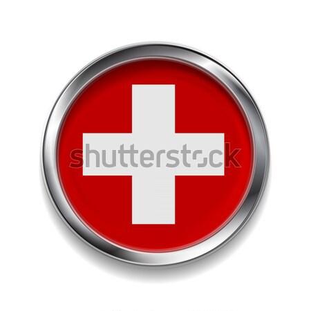 Abstrato botão metálico quadro bandeira vetor Foto stock © saicle