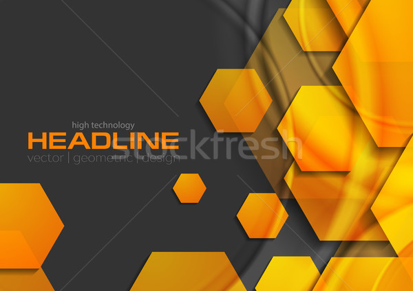 Abstract orange glossy shiny tech background with hexagons Stock photo © saicle