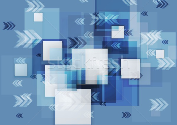 Blue corporate geometry background with squares and arrows Stock photo © saicle