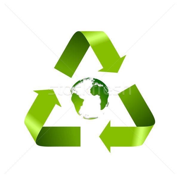 Green recycle logo and globe isolated on white Stock photo © saicle