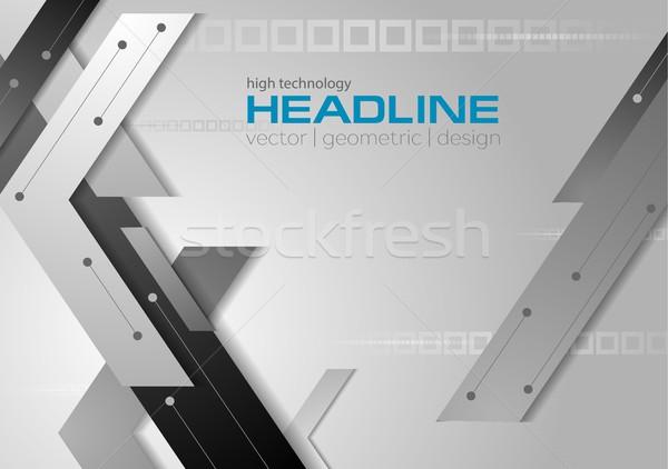 Stockfoto: Tech · vector · grijs · corporate · meetkundig · technologie