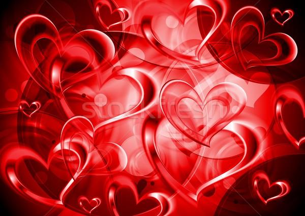Valentin nap fényes piros szívek vektor eps Stock fotó © saicle
