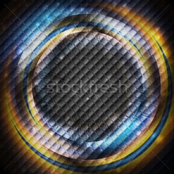 Blue and orange rings on dark square texture Stock photo © saicle