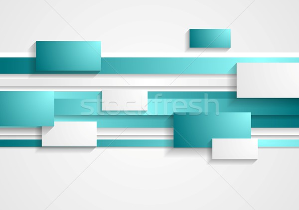 Cyan and white rectangles and stripes. Tech background Stock photo © saicle