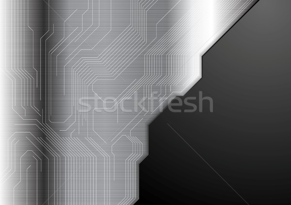 Stockfoto: Abstract · metalen · circuit · board · vector · donkergrijs · technologie