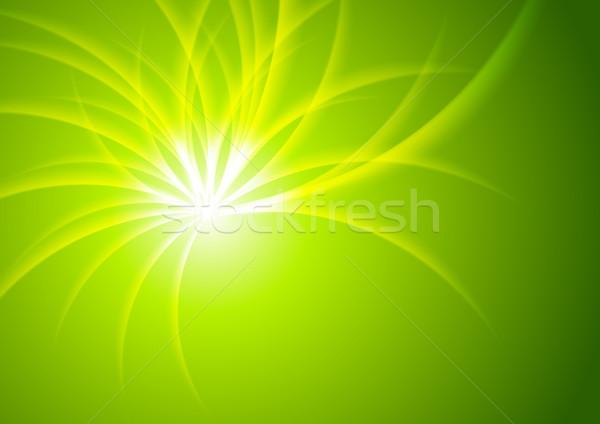 Green shiny abstract beams vector background Stock photo © saicle