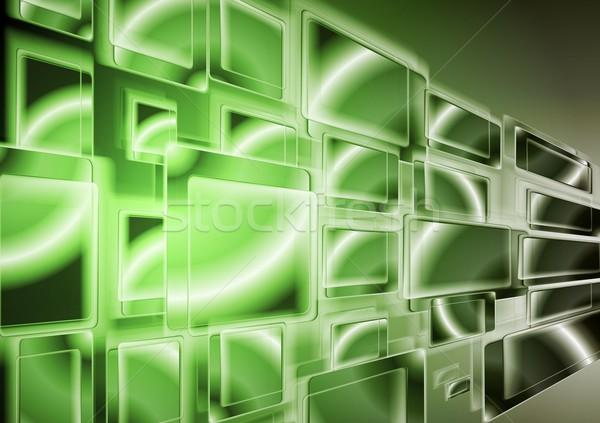 Lumineuses vert technologie design vecteur résumé Photo stock © saicle