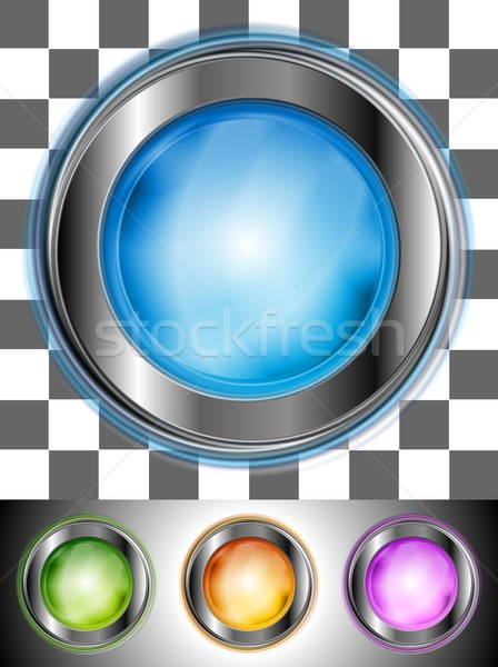 Glossy colourful buttons with the same illumination. Vector background Stock photo © saicle
