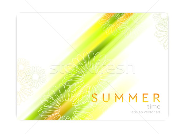 Abstract summer background with glowing stripes and camomiles Stock photo © saicle