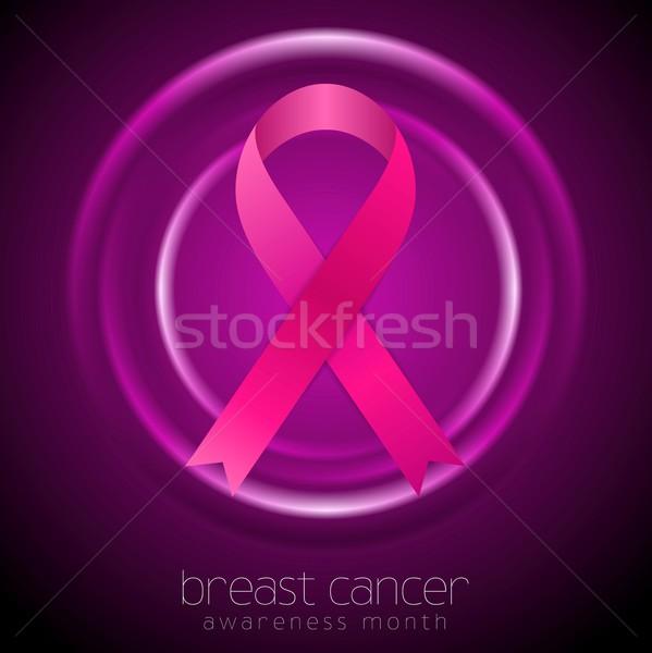 Stockfoto: Borstkanker · bewustzijn · maand · abstract · cirkels · lint