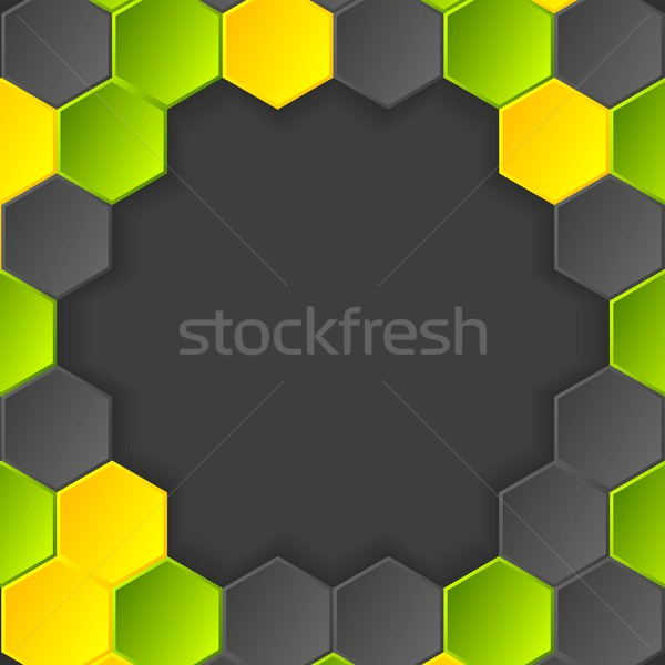 Abstract hi-tech vector dark background with hexagons Stock photo © saicle