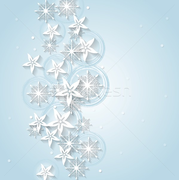 Light blue Christmas background with winter flowers and snowflakes Stock photo © saicle