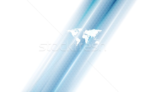 Hi-tech background with world map and blue stripes Stock photo © saicle