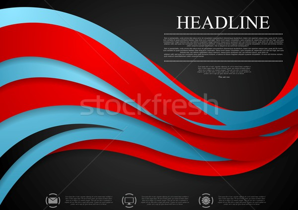 Abstract blue red corporate wavy background Stock photo © saicle
