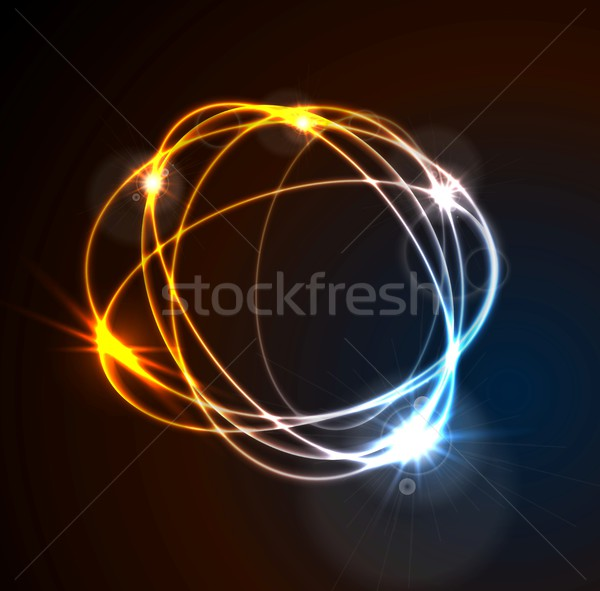 Glow flash neon vector round shape shiny template design Stock photo © saicle