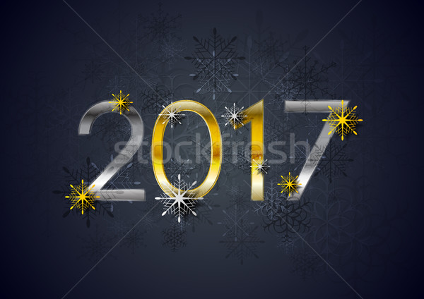 Golden and silver 2017 New Year holiday background Stock photo © saicle