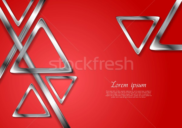 Abstract tech geometry metallic triangles background Stock photo © saicle