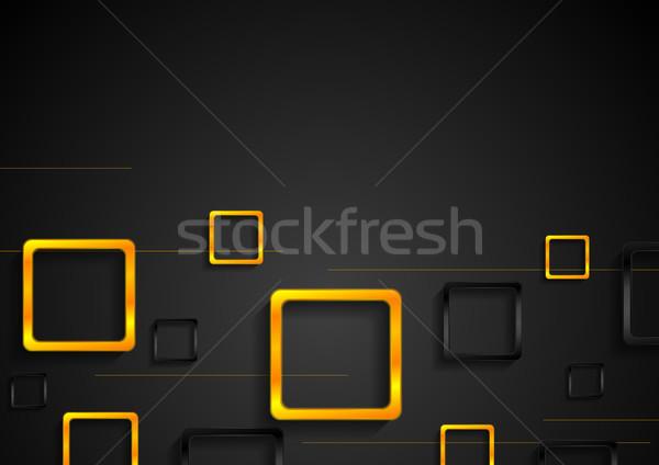 Minimális fekete narancs négyzetek vektor sablon Stock fotó © saicle
