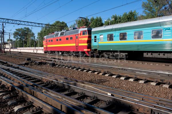 Elektrische locomotief mooie foto krachtig spoorweg Stockfoto © sailorr