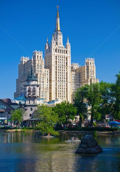 Szovjet felhőkarcoló gyönyörű kilátás öreg Moszkva Stock fotó © sailorr