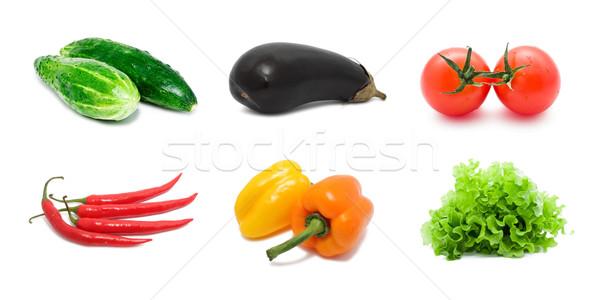 Groenten ingesteld gezonde geïsoleerd witte salade Stockfoto © sailorr