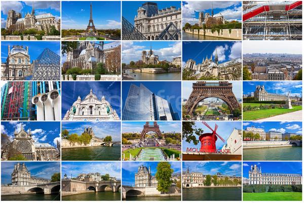 Париж Франция коллекция красивой фотографий небе Сток-фото © sailorr