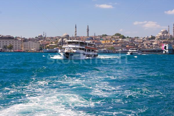 Isztambul kilátás égbolt tenger híd városi Stock fotó © sailorr