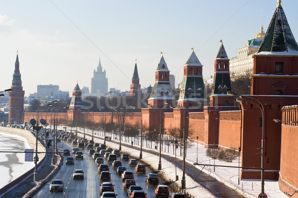 Moscú Kremlin pared edificio calle cruz Foto stock © sailorr