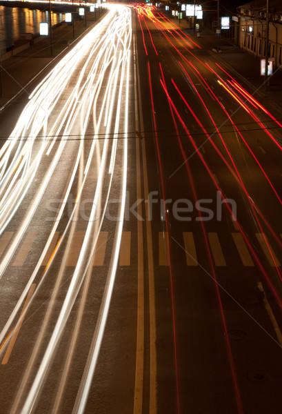 Gece yol trafik bulanık ışıklar sokak Stok fotoğraf © sailorr