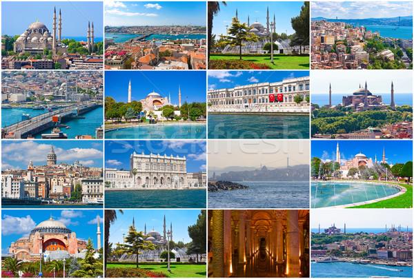 Istanbul ensemble belle Photos Turquie pont Photo stock © sailorr