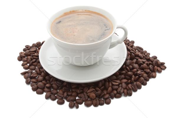 чашку кофе бобов белый фон пить черный Сток-фото © sailorr