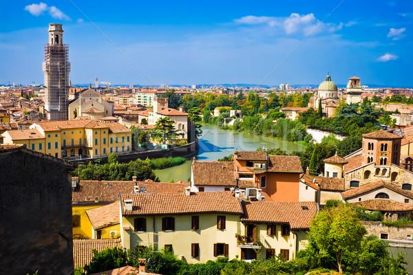 Verona panorâmico ver colina Itália paisagem Foto stock © sailorr