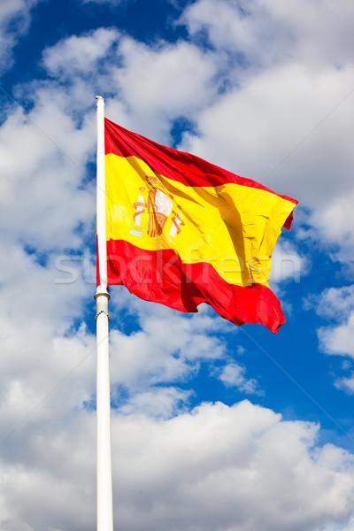 ストックフォト: スペイン国旗 · フラグ · スペイン · 青空 · 移動 · 風