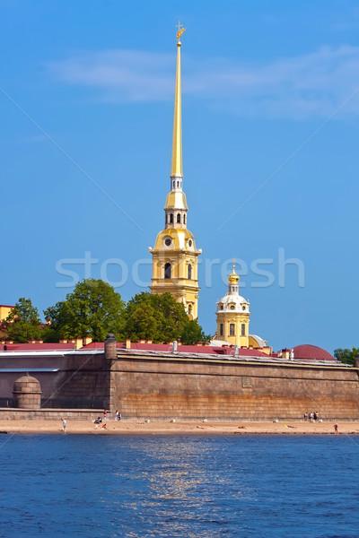 Forteresse saint ciel ville coucher du soleil église Photo stock © sailorr