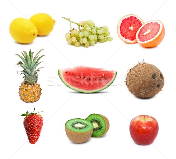 плодов набор различный изолированный белый яблоко Сток-фото © sailorr