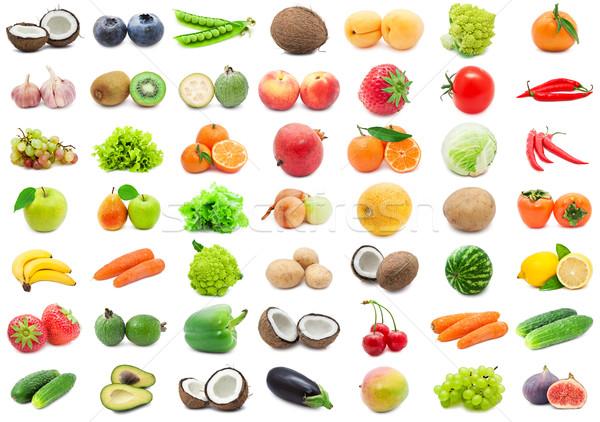 Gyümölcsök zöldségek gyűjtemény különböző izolált fehér Stock fotó © sailorr