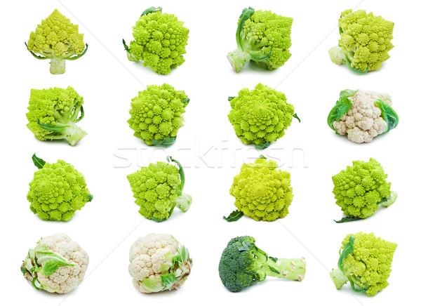 Bloemkool broccoli collectie geïsoleerd witte voedsel Stockfoto © sailorr