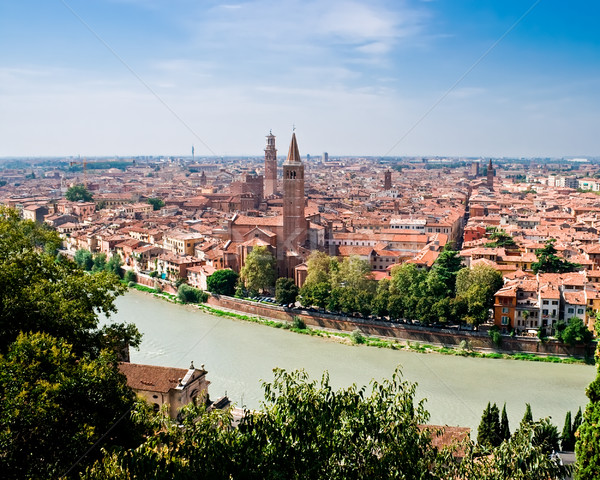 Verona panoramisch hoog heuvel Italië Stockfoto © sailorr