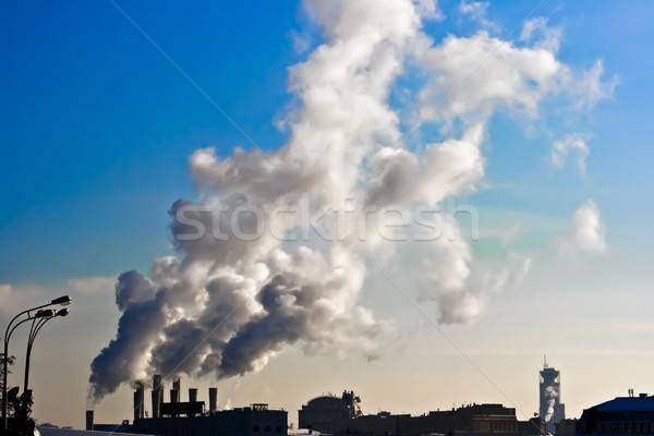 Ar poluição usina branco fumar Moscou Foto stock © sailorr