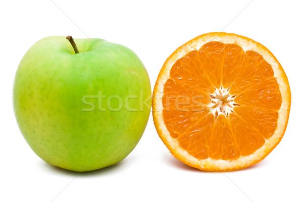 Narancs alma zöld gyümölcs reggeli eszik Stock fotó © sailorr