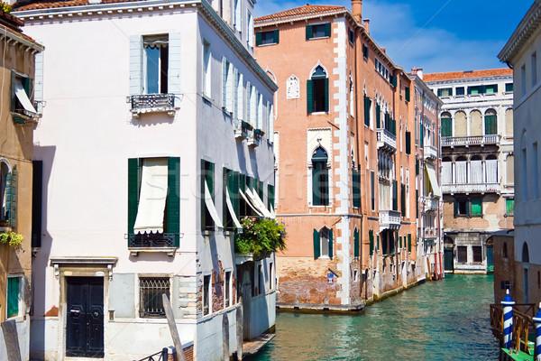 Kanal Venedik güzel venedik eski evler Stok fotoğraf © sailorr