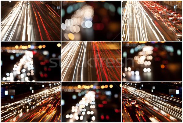 Nacht weg verkeer wazig lichten achtergrond Stockfoto © sailorr