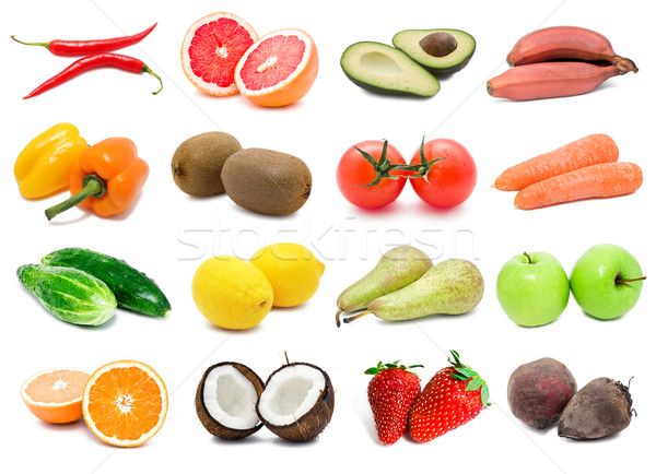 здоровое питание большой коллекция овощей плодов оранжевый Сток-фото © sailorr