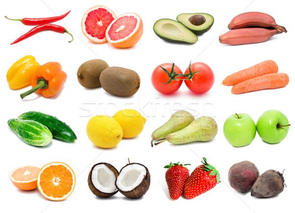 Aliments sains grand ensemble légumes fruits orange Photo stock © sailorr