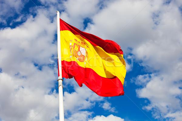 Bandiera spagnola bandiera Spagna cielo blu movimento vento Foto d'archivio © sailorr