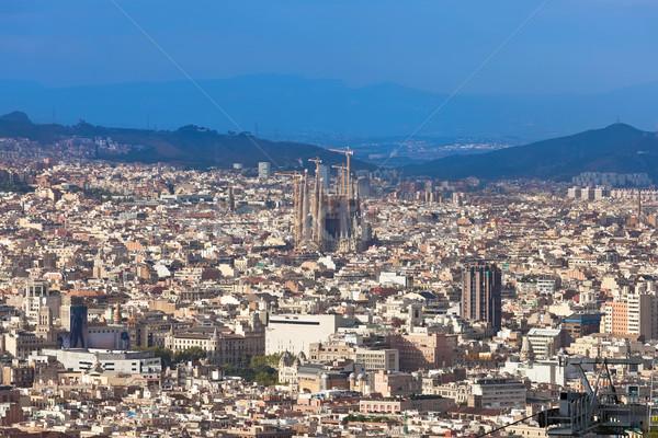 Barcelona panorama cityscape familia ver edifício Foto stock © sailorr